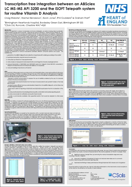 CSols Clinical Biochemistry Software Solutions -Transcription free Interfacing at Heartlands Poster